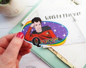 star trek pride sticker, pride sticker, star trek Q sticker, gay pride sticker, nerd pride, star trek the next generation, trekkie pride