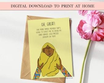 ferengi baby card, star trek card to print at home, digital download star trek card, print at home baby card, printable ferengi baby card