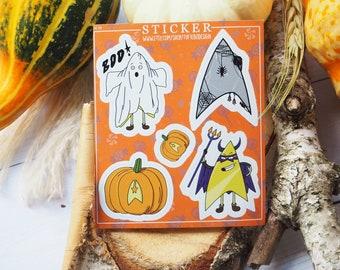 halloween star trek sticker, trek or treat, star trek stickers, badgey lower decks stickers, lower decks sticker, halloween stickers, badgey