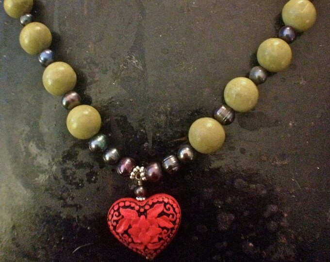 Cinnabar Heart Necklace,Corazon, Blue gray fresh water pearl and green turquoise necklace,Mother's Day Necklace, southwestern heart necklace
