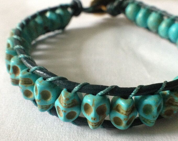 Leather Wrap Howlite Skull Bracelet