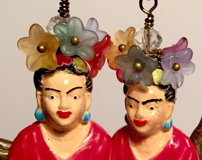 Frida Kahlo earrings, Day of the Dead, sugar skull, Flower Frida Earrings, Mexican Frida Earrings,Frida's Garden Earrings,Dia de los Muertos