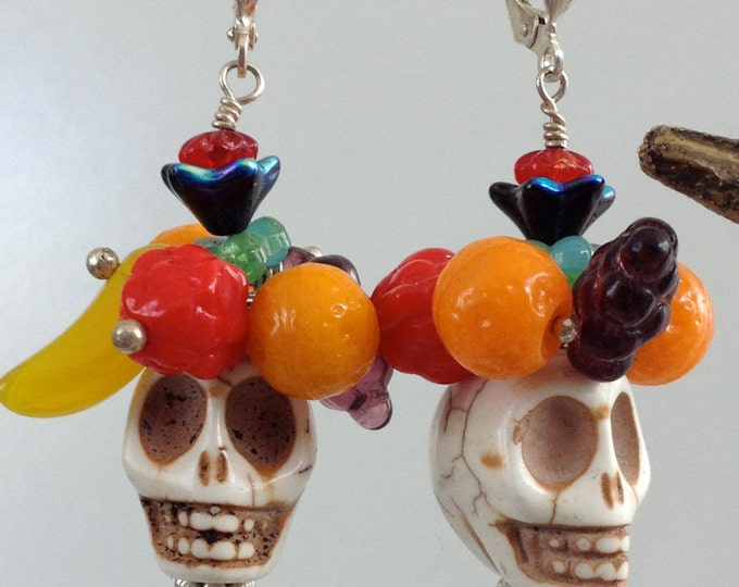 Carmen Miranda Skull Earrings Fruit topped Skull Earrings, Sugar Skull, Day of the Dead, Funky Skull Earrings