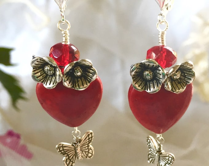 Red howlite heart earrings, Valentines jewelry, hearts and flowers, southwestern valentines, valentines jewels