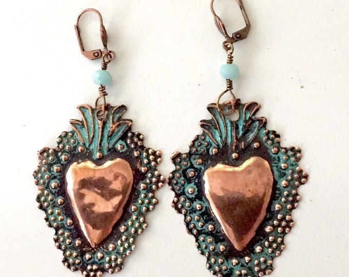 Brass Flowered Milagro Verdigris Earrings, Corazon, Frida Khalo, Two Broke Girls, Kat Dennngs, 2 Broke Girls, Sacred Heart, Mexican folk art