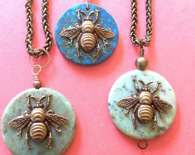 Brass bee necklace, Bee necklace, Nature, Apis, Buzz, bee on a coin, apis jewelry,heart chakra