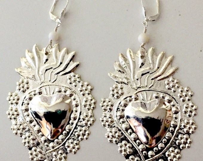Silver Large Milagro flowered earrings, Frida Khalo, Sacred heart, Flaming Hearts, Floral Hearts,2 Broke Girls.