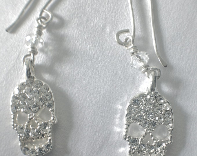 Sparkling Silver Rhinestone Calavera Skull Dangling Earrings