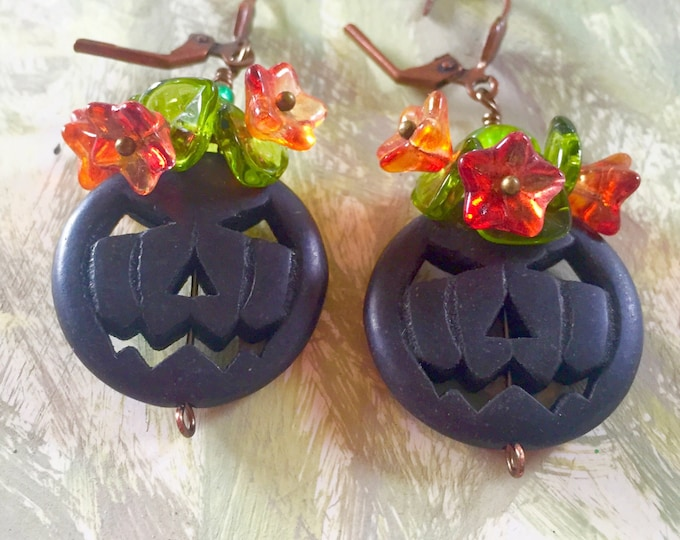 Black Jack o lantern earrings, jack o lantern, halloween earrings, pumkin earrings , fall,Thanksgiving , autumn