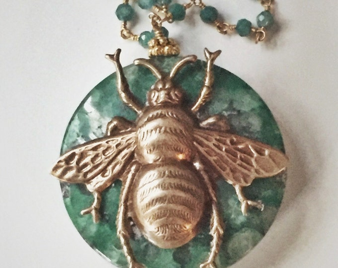 Green Bee pendant, brass bee on malachite disc, insect jewerly, jade link chain