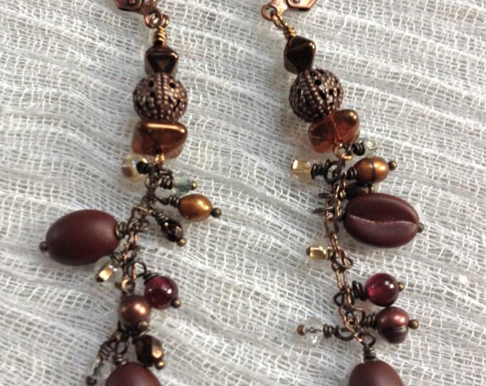 Coffee Bean Crystal Earrings,caffeine jewelry,Coffee shop earrings,coffee bean earrings,caffeine miniature food,double shot coffee  earrings