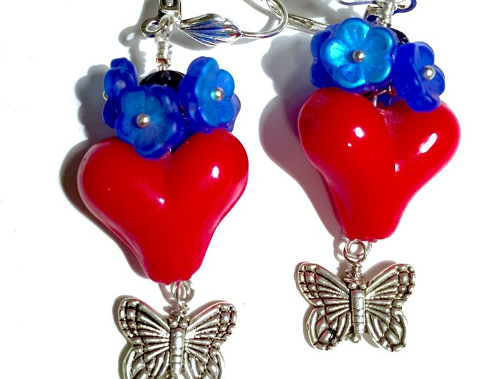 Red heart love earrings, Valentine's day earrings, puffy heart lamp work, hearts,