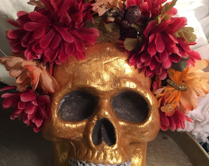 Floral headdress,Sugar Skull,Day of the Dead, Dia de Los Muertos, Floral crown, boho floral crown,Frida Khalo,