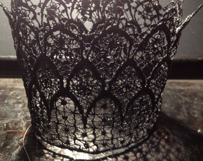 Lace Crowns Handcrafted-gothic princess-Birthday crown-crowns-infant crown-princess crowns-photo prop-black crown