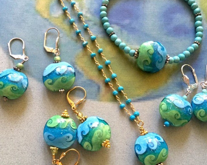 Earth day necklace, lampwork earth bead, wave bead, ocean art, air and water, ocean, waves