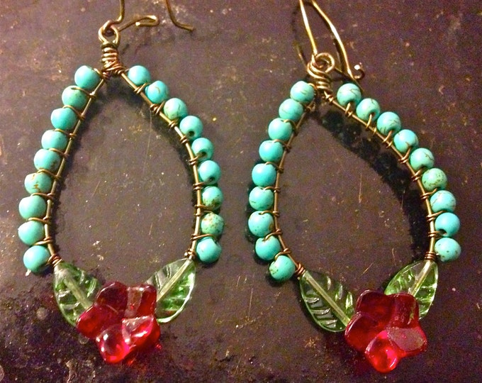 Turquoise beaded floral Frida hoop earrings, Frida Khalo, Beaded Hoops, Tribal Flowers, Mexican Folk Jewelry