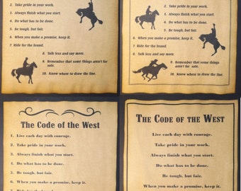 "Cowboy/'s Code of the West 5/""X8/"" Laminated Magnetic Sign//Poster"