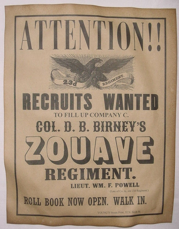 11x14 Civil War Recruiting Poster Sharpshooters Sharp-Shooters wanted Union