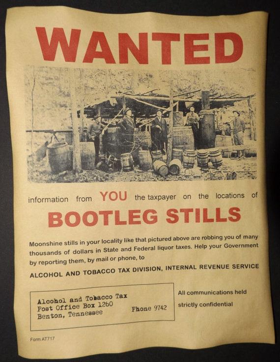 moonshine bootlegger moonshiner Bootleg Stills Wanted Poster bootleg
