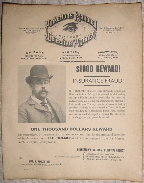 Hh Holmes Wanted Poster Murder Castle Serial Killer H H Etsy