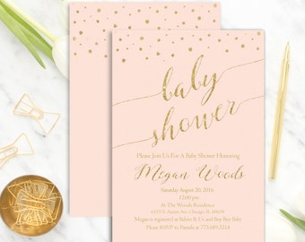 Printable Pink Baby Shower Invitation | Light Pink Baby Shower Invitation | Pink Gold Baby Shower | Girl Baby Shower | Polka Dots | Glitter