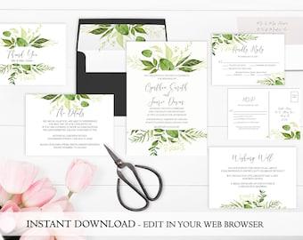 Greenery Wedding Invitation Printable   Garden Wedding Invitation Se Template   Instant Download   Leaf Wedding Invite   Spring Wedding PDF