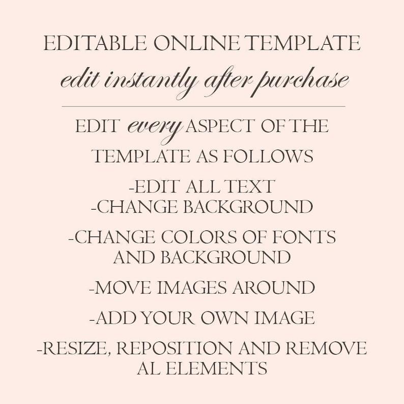 Black Glam Blush Purple Floral Wedding Invitation Set Printable PDF Editable Wedding Invitation Template Suite Instant Download