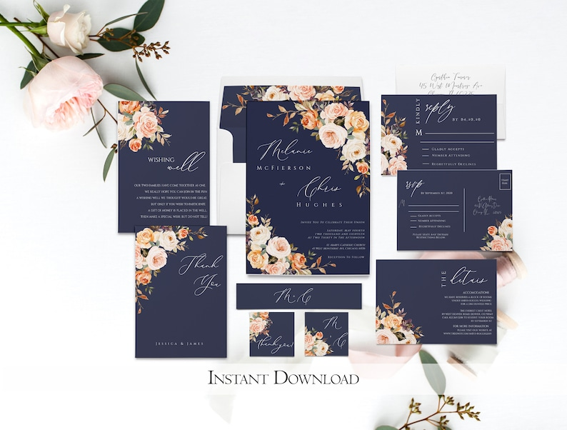 Mel Autumn Wedding Invitation Set Fall WEDDING BUNDLE Template Rustic Floral Wedding Invitation Template Bundle Boho Invitation bundle