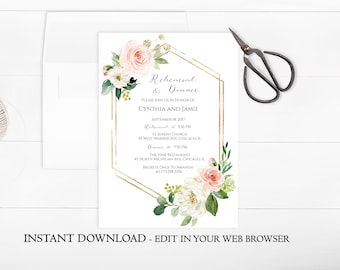 Blush Floral Rehearsal Dinner Invitation Template | Printable Rehearsal & Dinner Invite Pink Flower | Instant Download | Gold, Botanical PDF