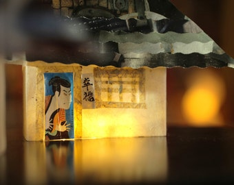 Origami paper light with Japanese houses