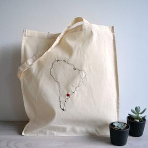 Embroidered bag Coffee lovers gift Coffea arabica tote bag Botanical art Natural cotton tote bag Coffee art Coffee addict gift