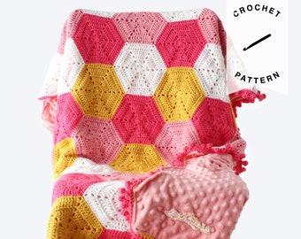 CROCHET PATTERN: Khadija Hexagon Baby Blanket | crochet baby blanket, pattern, digital download, weighted blanket pattern, baby gift