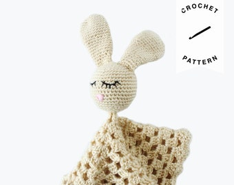CROCHET PATTERN: Willow the Bunny Lovey, Security Blanket, soothing blanket, baby shower gift, baby toys, plushie, baby blanket, PDF pattern