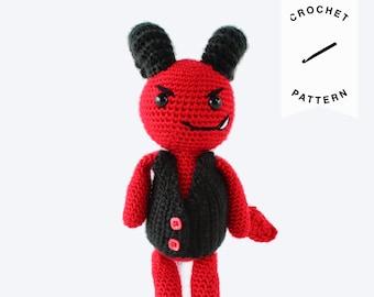 CROCHET PATTERN: Damian the Devil | crochet devil, plushie, amigurumi pattern, crochet toys, handmade, amigurumi, nursery decor, halloween