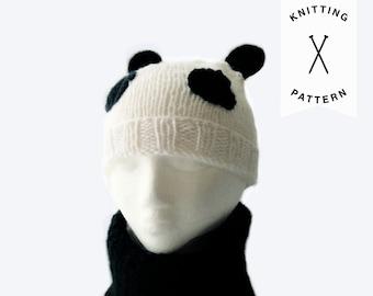 KNITTING PATTERN: Kids Panda Beanie + Cowl Set | handmade, knitted hat pattern, digital download, cowl, knit beanie, textured, pattern set