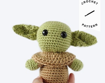 CROCHET PATTERN: Baby Yoda | crochet pattern, stuffed animal, amigurumi pattern, plushie, alien, digital download, Star wars, Mandalorian