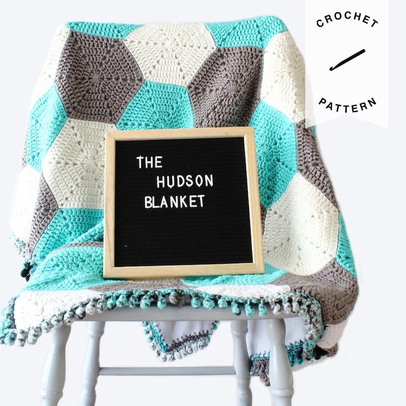CROCHET PATTERN: Hexagon Baby Blanket  crochet baby blanket image 0