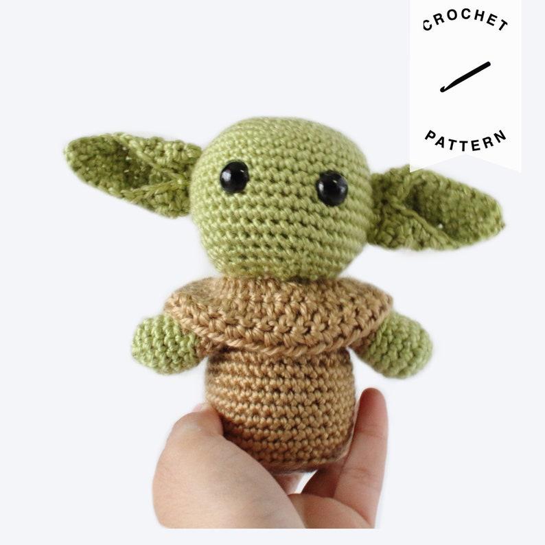CROCHET PATTERN: Baby Yoda  crochet pattern stuffed animal image 0