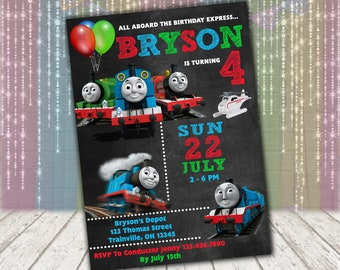 Thomas & Friends Chalkboard Birthday Invitation | Thomas the Train Chalkboard invite - Personalized Printable Digital File