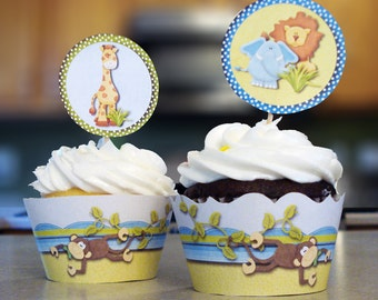 Monkey Jungle Baby Shower Cupcake Wrappers - PRINTABLE INSTANT DOWNLOAD