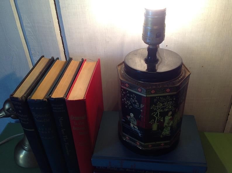 Asian Tea Tin Lamp Octagon Shape