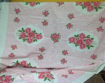 Vintage Pink Roses Table Cloth