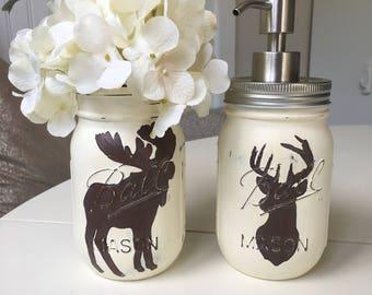 Deer and Moose Mason Jar Soap Dispensers