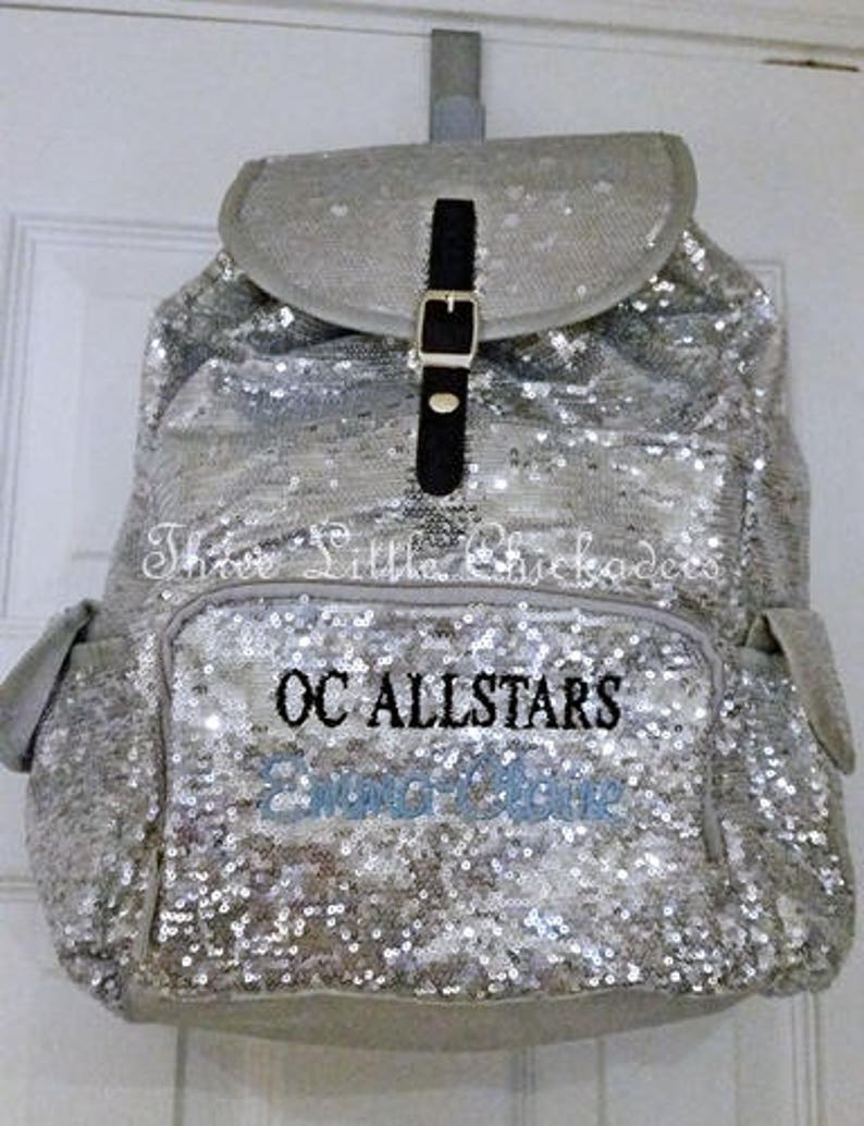 0d777410b297 BLING Sparkle Sequin Backpack Personalized Gymnastics Bag Cheer Bag Dance  Bag Overnight School Bag Swim Sports Birthday Flower Girl Youth