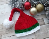 Crochet Christmas Santa Elf Hat, Baby Photography Prop. Baby Hat, Red White Pom Pom Hat. Various sizes. Baby wear.