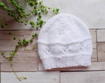 unisex knitted beanie hat hand knit baby wear lilac and white new baby gifts. Newborn baby hat UK seller