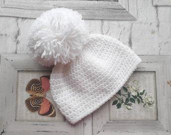 Pure white newborn baby hat. Pom pom hat 0452a3f55f1