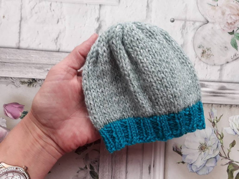 ab196cd79 Spring Sale.Newborn baby boy beannie hat. Knitted baby hat. Photography  prop. UK seller. Rts. Grey, teal green baby hat.