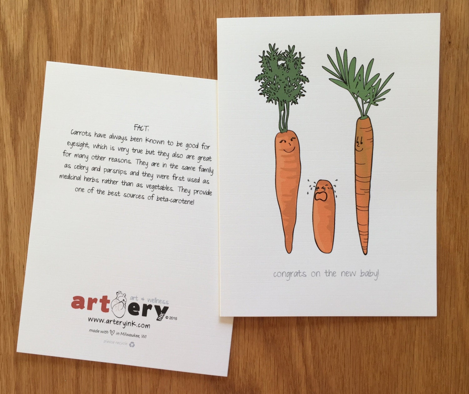 Baby Carrot Congrats New Baby Greeting Card 5x7 Etsy