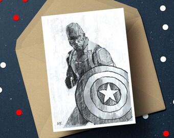 Captain America Chris Evans birthday greeting card, Marvel Comics geek unique superhero gift for him her, boyfriend girlfriend movie fan